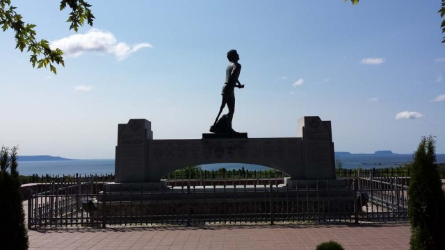 Terry Fox almost made it to Thunder Bay. It's within sight of this memorial, just east of town.