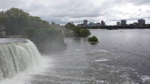 Rideau Falls, where the Rideau River runs into the Ottawa River. Gatineau in the background.