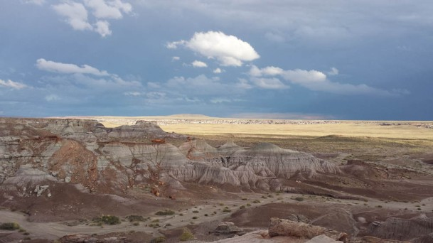 Inside the Petrified Forest park. The sky is impressive too.